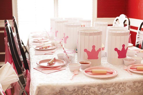 pink cooking party table setting