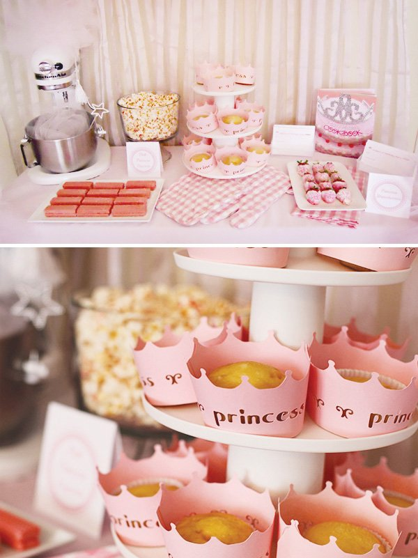 pink princess cooking party dessert table