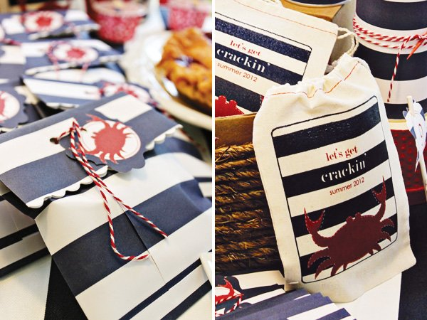 americana nautical low country boil crab party favors