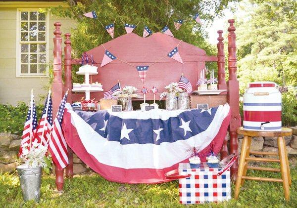 rustic july 4th dessert table