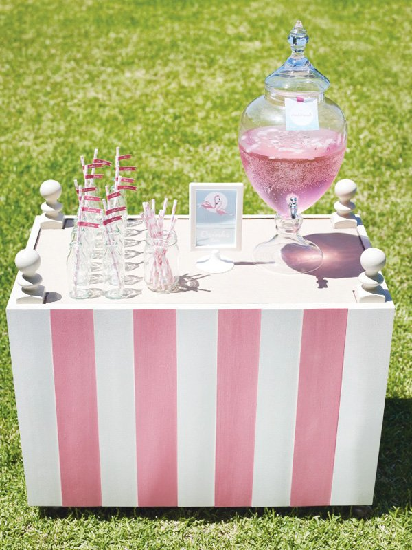 pink pool party drink station