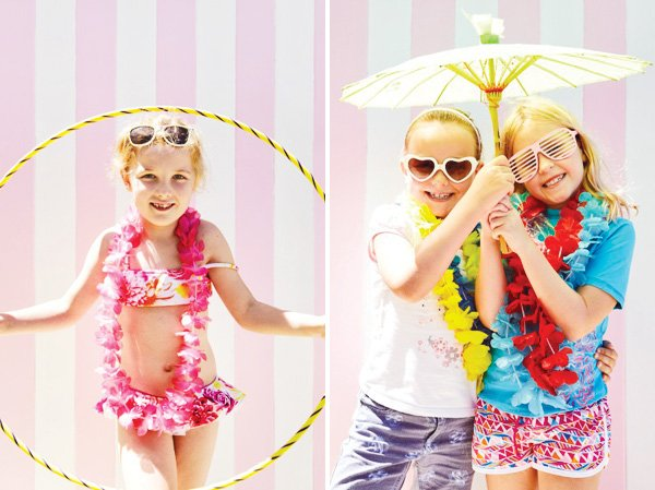 pink pool party photo booth