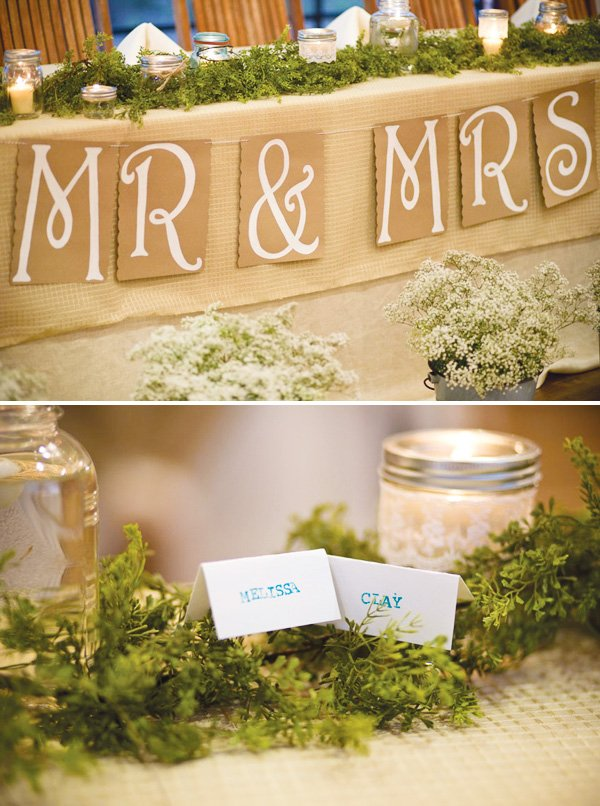 wedding head table decor and name cards
