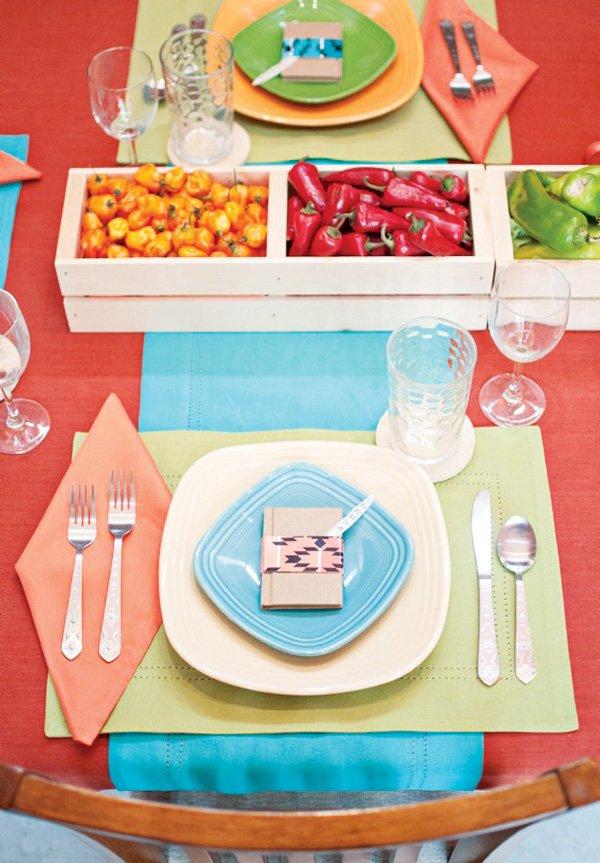 bright southwest table setting