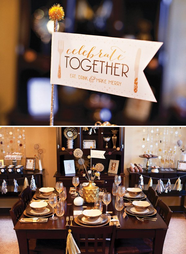 metallic dinner party tablescape