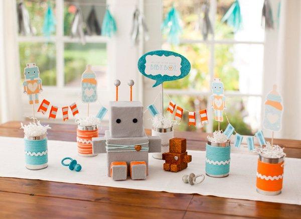 robot baby shower centerpiece