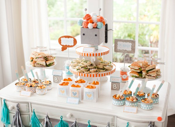 hwtm robot baby shower food table for potterybarn kids