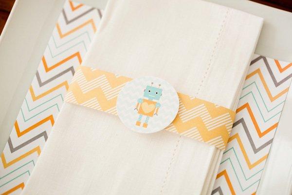 robot baby shower printable napkin ring