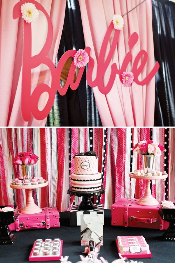barbie dessert table