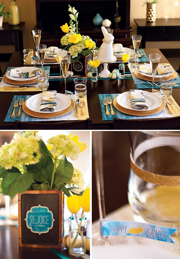 blue and yellow Easter brunch ideas