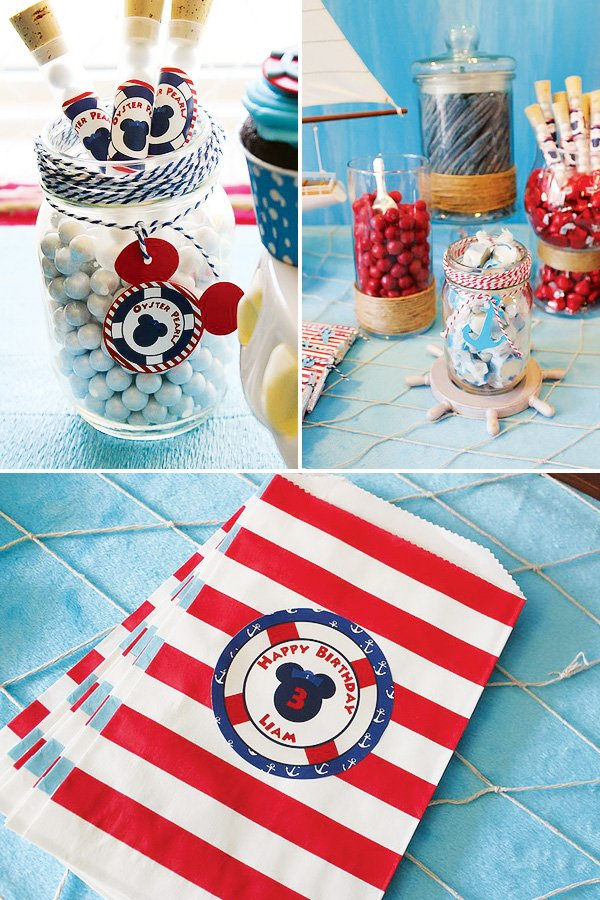 Mickey Mouse candy buffet and candy bags