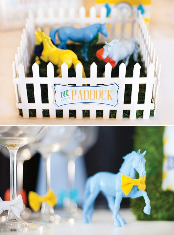 kentucky derby party centerpiece - painted horses with bow ties in DIY paddock