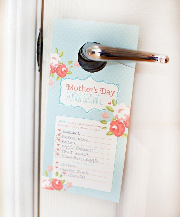 free mother's day printable breakfast door tag