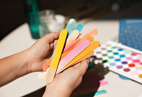 watercolor painted popsicle sticks