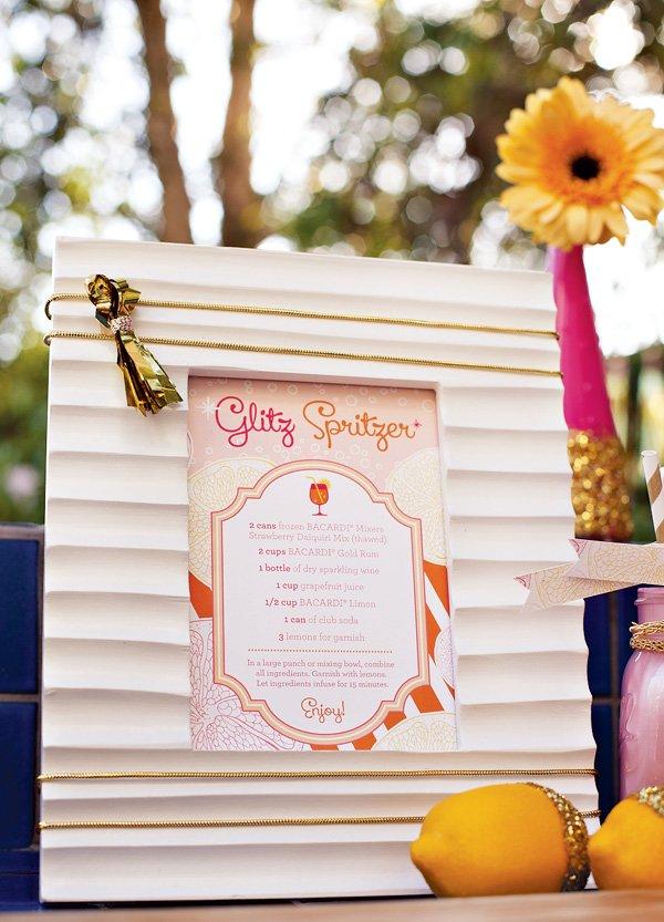 Glitzy Spritzer Drink Menu - pink gold citrus