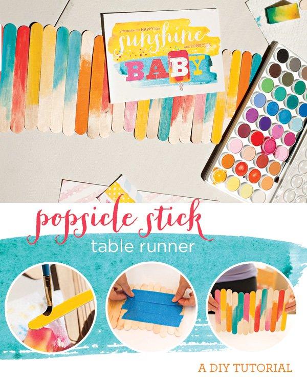 DIY watercolor popsicle stick table runner tutorial