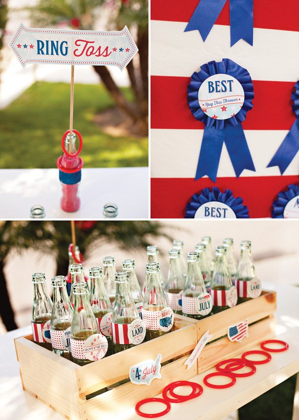 Ring Toss Game with Vintage Coke Bottles