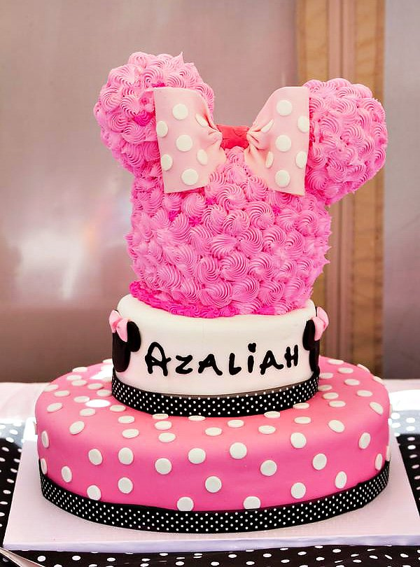 Pink Polka Dot Minnie Mouse Birthday Cake