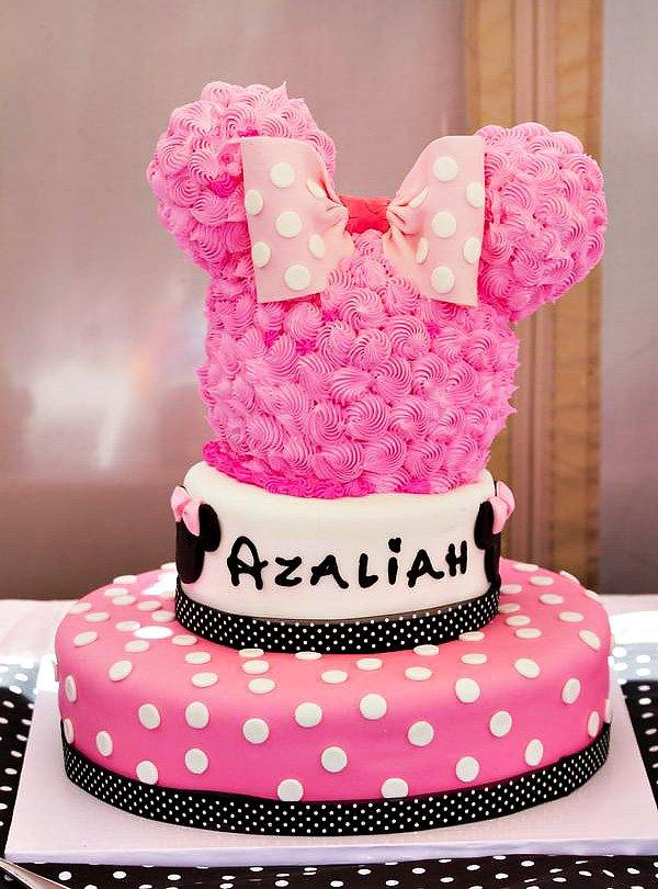Pink Polka Dot Minnie Mouse Birthday Cake