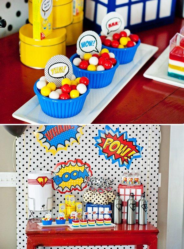 superhero dessert table