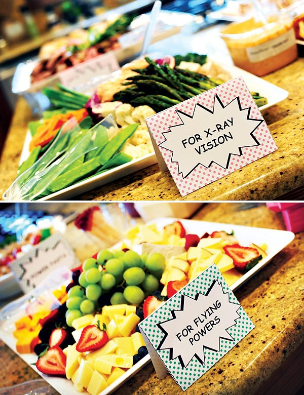fruits and vegetables for a super hero party