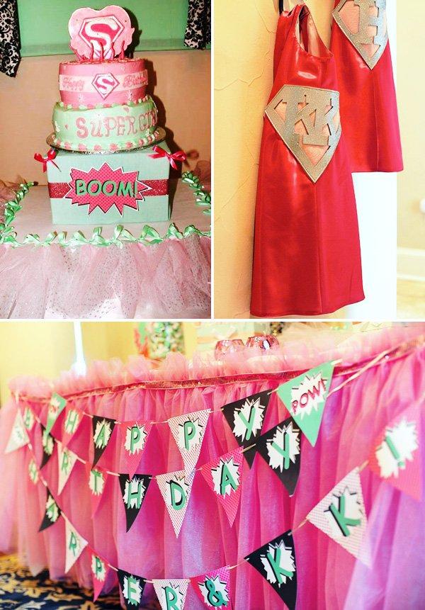 pink super hero cake