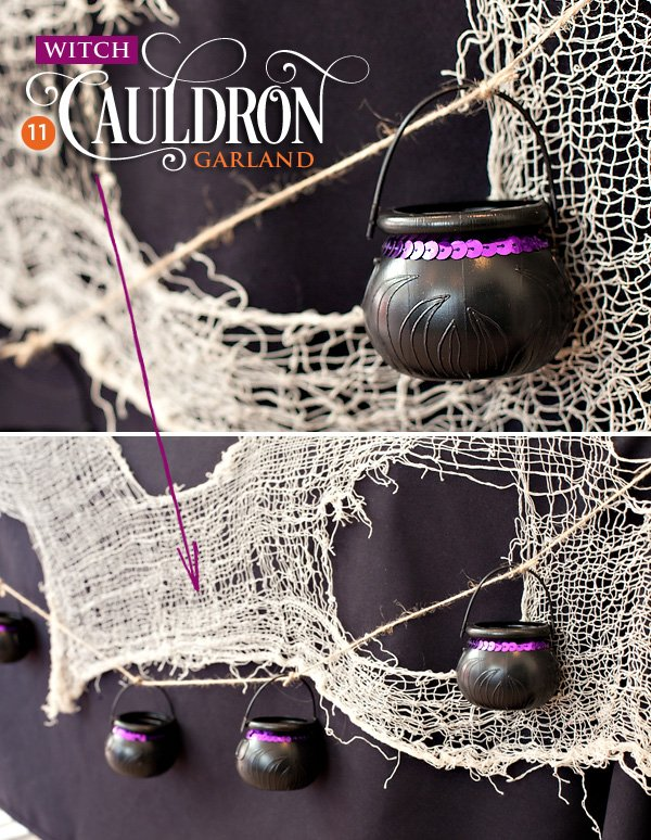 halloween garland made from witch cauldrons