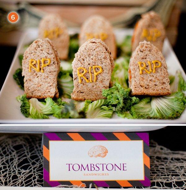halloween tombstone sandwiches