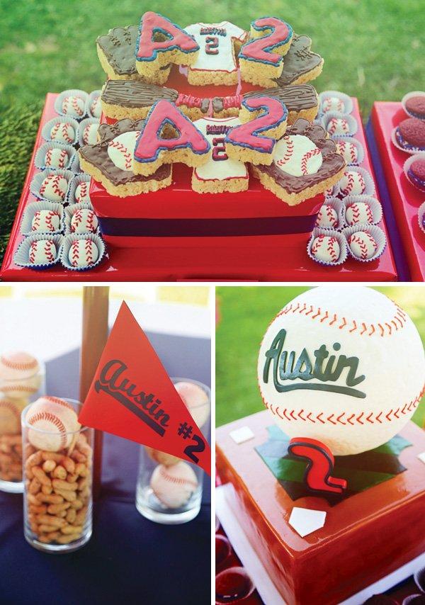 baseball birthday party dessert table