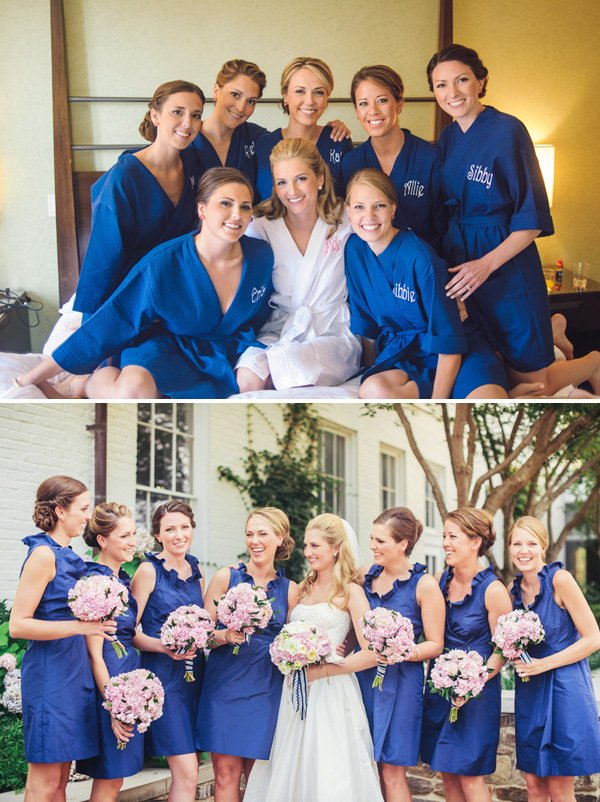 bridesmaids in blue robes