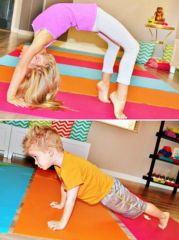 kids doing yoga at a 2nd birthday party