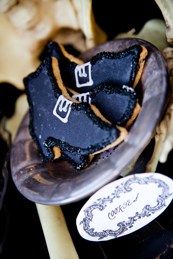 witch boot cookies for a halloween dinner party