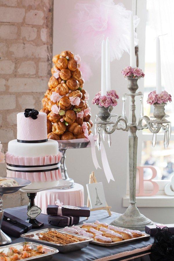 pink parisian dessert table