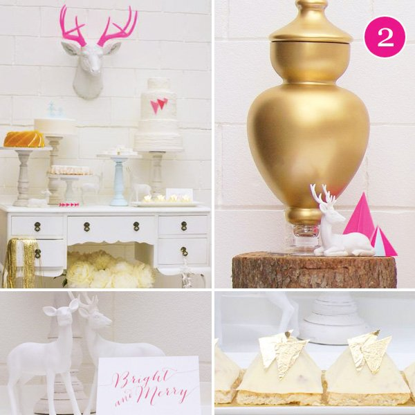 mod pink and gold glam holiday party