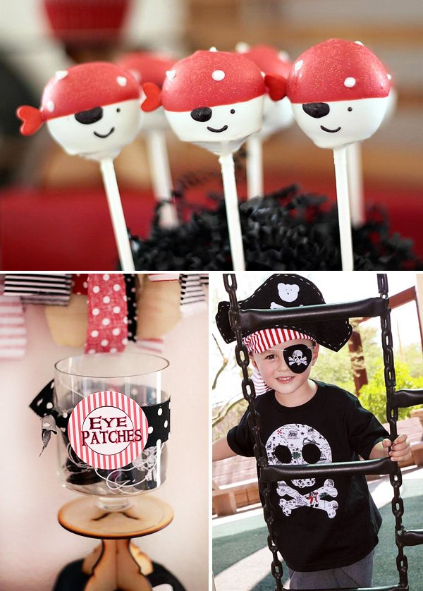 pirate birthday party cake pops and eye patches