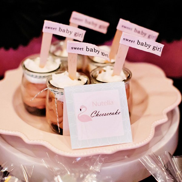 Nutella cheesecake pots with sweet baby girl party flags