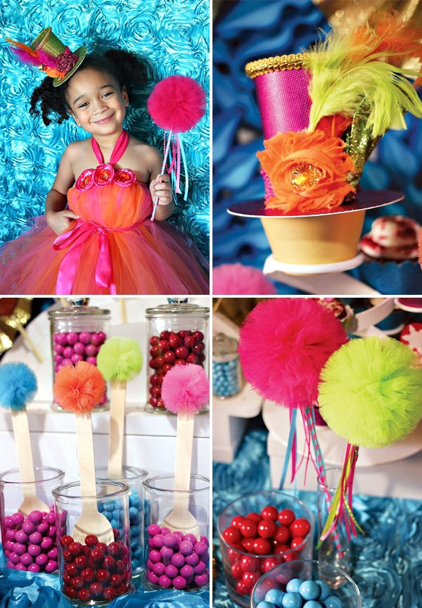 multi color, non-traditional christmas decorations with tulle pom-poms
