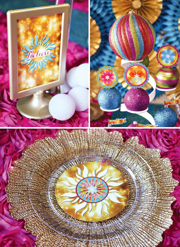 soiree event design christmas printables with bright suns and snowflake flowers