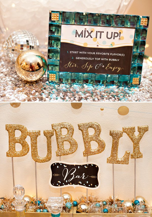 DIY Bubble bar drink station with glitter letters and handmade invitations