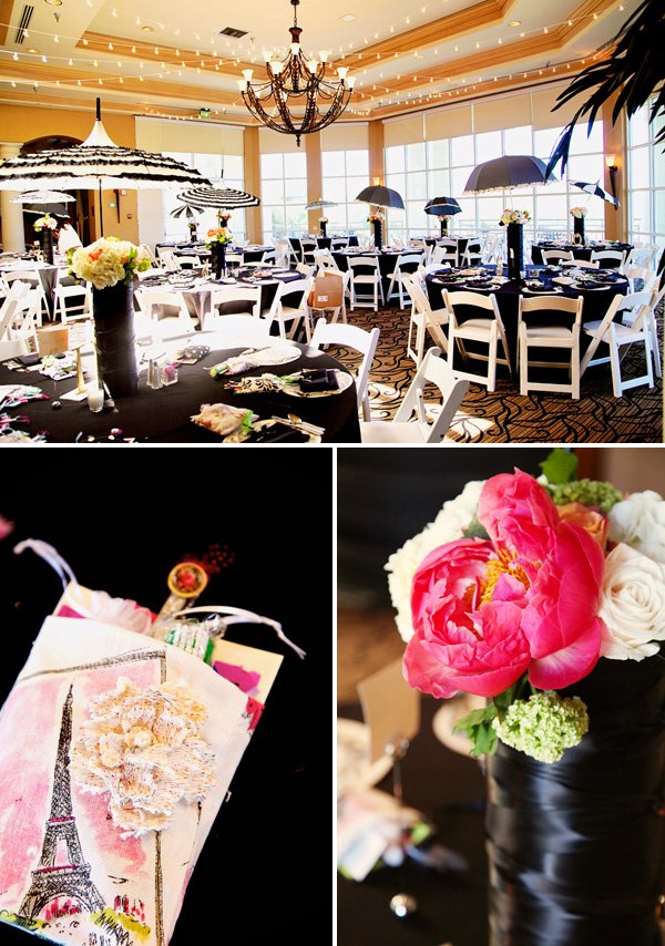 vintage paris themed charity event party with black and white tablescape, party favors and pink floral centerpieces
