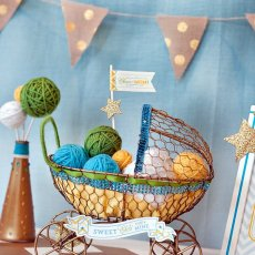 baby shower centerpiece - gold carriage with crafty details