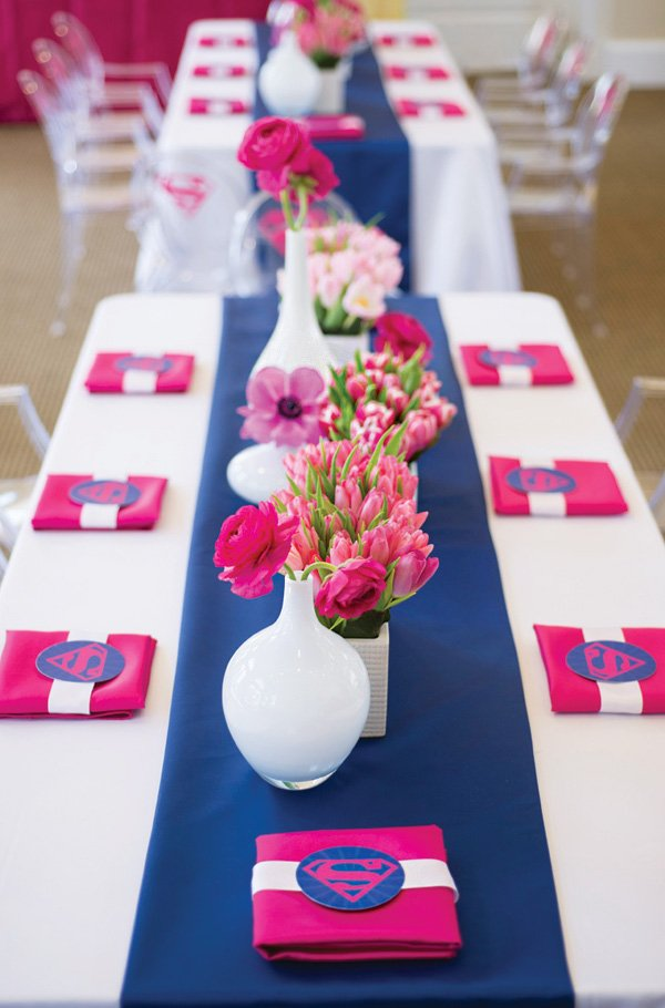 pink, blue and white tablescape