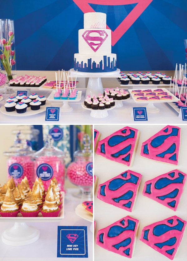 pink and blue supergirl dessert table