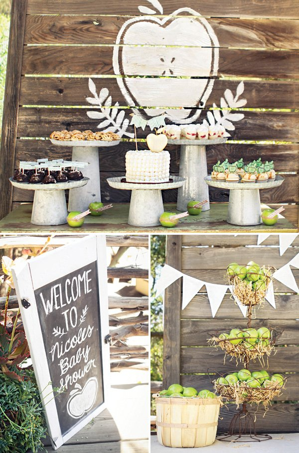 rustic, homemade apple of my eye baby shower