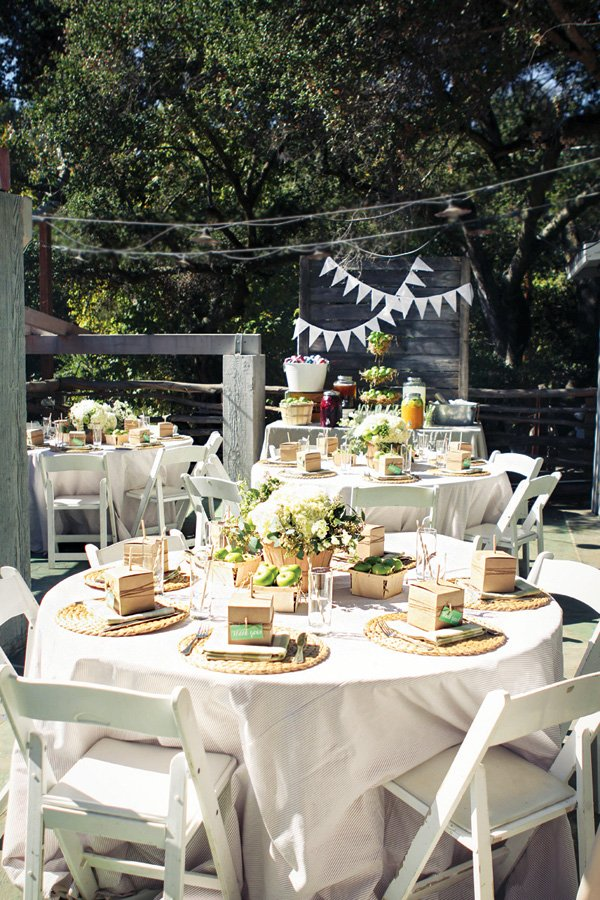 rustic outdoor table and party decor