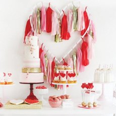 pink red gold valentine's day dessert table