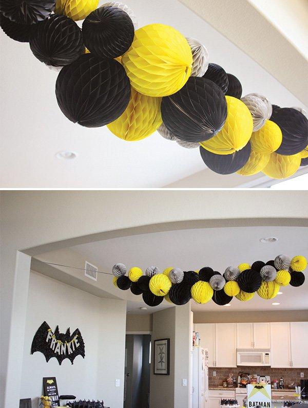 batman black and yellow honeycomb pom garland