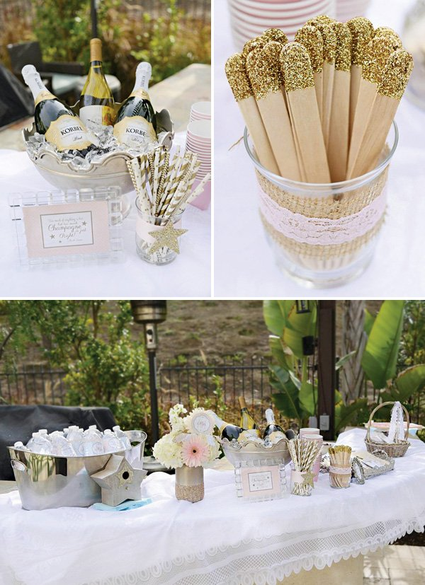gold glitter and champagne drinks station