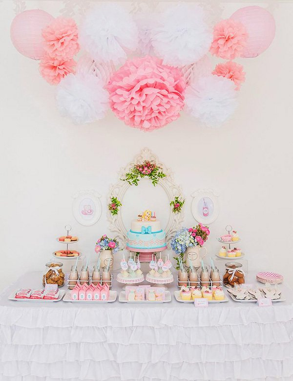 pretty pink dessert table for a little girl's second birthday