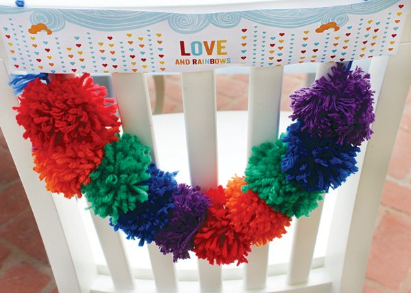 rainbow pom and printables chair backs